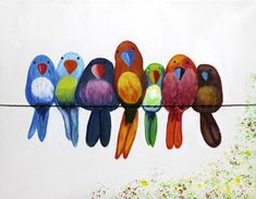 Birds on a leash, acrylic - Art Painting Bird Drawings, Pencil Art Drawings, Fabric Painting, Painting & Drawing, Wal Art, Art Watercolor, Happy Paintings, Whimsical Art, Bird Art