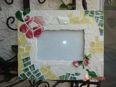 PICTURE FRAME/ HAND CUT MOSAIC/ BROKEN CHINA.