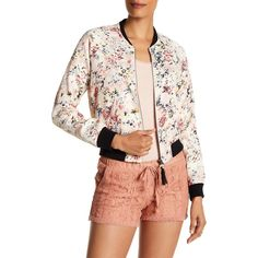 Jolt Floral Tasseled Bomber Jacket (Juniors) ($39) ❤ liked on Polyvore featuring outerwear, jackets, floral jackets, floral bomber jacket, collared bomber jacket, zip front jacket and blouson jacket