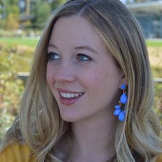 Blue Teardrop Rhinestone Dangle Earrings - Avey Desings www.aveydesigns.com