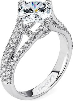Michael M. Triple Row Pave Diamond Engagement Ring  : This diamond engagement ring features pave set round brilliant cut diamonds on a triple row shank leading up to your choice of center diamond.