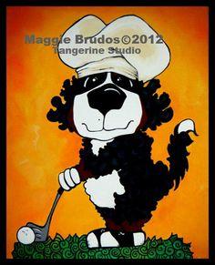 golfing dog Whimsical ART Bernese Mountain Dog by tangerinestudio, $45.00