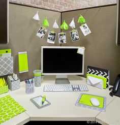 Brighten Up Your Cubicle With Stylish Office Accessories! Great Idea With  Photo And Tassel Sting Behind Monitor