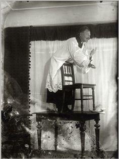 Mucha posing as Jan Hus for 'Master Jan Hus Preaching at the Bethlehem Chapel' (The Slav Epic cycle No.8, 1916) (Photo c.1915-1916)