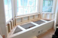 Attractive Window Bench Seat With Storage with Building A Window Seat With Storage In A Bay Window Pretty Handy Storage Bench Seating, Diy Bench Seat, Banquette Seating, Ikea Bench, Window Storage Bench, Bay Window Benches, Bay Window Seating, Bedroom Storage, Window Bench Seats