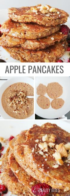 Quick and easy healthy breakfast idea that will fill you up and satisfy your cravings - these pancakes made with oats, apples and honey. They\'re flourless and super delicious, try! | www.beautybites.org