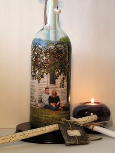 Message In A Bottle Bridal Shower Gift, Hand Painted Bottle With Your Photo, Wedding Gift, Engagement Gift, Reception Decor Centerpiece