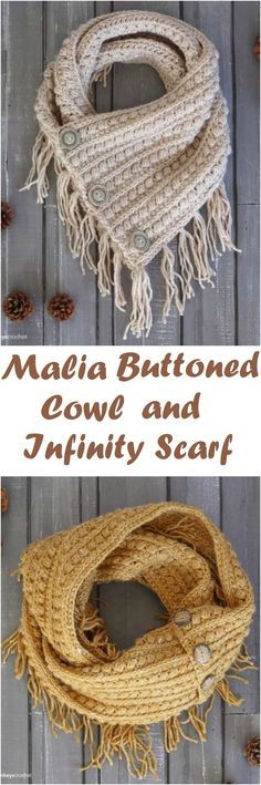 Crochet Malia Buttoned and Infinity Scarf