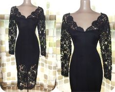Vintage 50s 60s UNIQUE Black Lace Illusion Hourglass Cocktail Wiggle Dress Large XL Gothic Bombshell