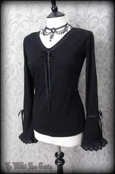 Romantic Goth Black Ribbon Trimmed Ruffle Bell Sleeve Top 12 14 Witchy Boho | THE WILTED ROSE GARDEN