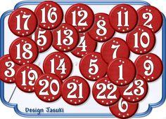 24 Button  25 mm Ø Zahlen Adventskalender rot von Jasuki auf DaWanda.com
