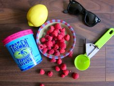 Mixed Berry Frozen Coconut vegan ice cream with fresh raspberries, lemonade and shades is the perfect combination to a sunny spring day! Gluten Free Ice Cream, Vegan Ice Cream, Lactose Free, Dairy Free, Organic Coconut Milk, Mixed Berries, Nut Free, Raspberries, Lemonade