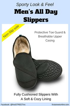 Men love the comfort and sporty look and feel. The All Day Slippers are great for walking, running errands, driving or lazy days. See them here now►https://www.firststreetonline.com/Healthy+Living/Shoes/Mens+All+Day+Slippers.axd