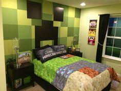 Minecraft bedroom More #coolboycraft Minecraft Room Decor, Boys Minecraft Bedroom, Minecraft Quilt, Decoraciones Minecraft, Crafts For Boys, Cool Bedrooms For Boys, Boys Bedroom Themes, Bedroom Decor, Bedroom Ideas