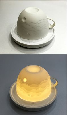 This landscape in a cup is drawn with the variation in thickness of its walls…