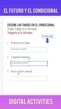 Would you like to see 100% student engagement? Try Spanish Google Drive Activities for the Future and Conditional Tenses. Students love digital activities and the situations are funny and relatable! After using these resources, students will be able to talk about the future and express probability using use the future and conditional tenses. Product includes digital activities for el futuro y el condicional, instructions for the students and student handouts. Great for distance learning! Ap Spanish, Spanish Lessons, French Teacher, Blended Learning, Student Engagement, Google Classroom, Interactive Notebooks, Google Drive, Lesson Plans