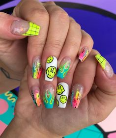 manicure with art by nails Nails Now, Aycrlic Nails, Neon Nails, Neon Nail Art, Swag Nails, Stiletto Nails, Edgy Nails, Grunge Nails, Stylish Nails