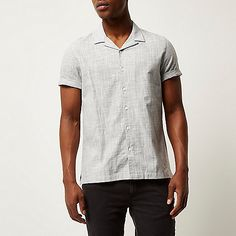 Grey linen revere collar shirt - short sleeve shirts - shirts - men