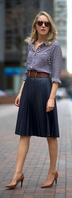 cute spring outfit / striped top + midi skirt + brown heels
