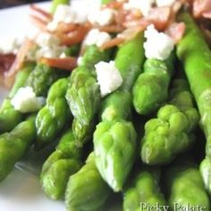 Crisped Pancetta Sauteed Asparagus with Goat Cheese Crumbles
