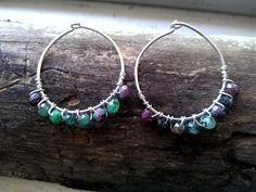 Ruby In Zoisite Hoops Earrings by MermaidenCreations on Etsy, $45.00