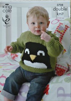 8e9bc54f8 Baby Knitting Pattern K3708 Babies Long Sleeve Jumper   Cardigan with Penguin  Design Knitting Pattern DK (Light Worsted) King Cole