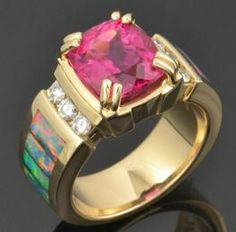 Custom rubellite tourmaline and Andamooka opal ring by The Hileman Collection. Nice carat tourmaline and outstanding multicolor Australian opal inlay. Opal Wedding Rings, Opal Rings, Body Jewelry, Jewelry Gifts, Jewellery, Australian Opal Jewelry, Tourmaline Ring, Bracelet Watch, Just For You