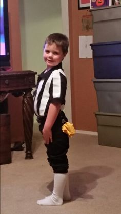 Referee costume...black polo, white duct tape.