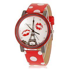 Frauenturm Muster Wellen-Punkt-Muster PU-Band Quarz-Armbanduhr Analog (verschiedene Farben) – EUR € 4.99