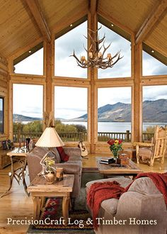 A Custom Log Home with a Great Room View | By PrecisionCraft Log Homes by PrecisionCraft Log Homes & Timber Frame, via Flickr