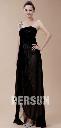 Chic Column One Shoulder Black Asymmetrical Beading Evening Dress - Persun. Black Prom Dresses Uk, Formal Dresses, Formal Wear Women, Dress P, Evening Dresses, One Shoulder, Chic, Beading, How To Wear
