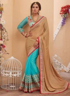 Sky Blue & Beige Georgette & Chiffon Saree ,Indian Dresses - 1