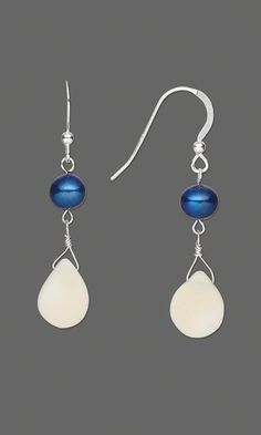 Earrings with Iris Blue Cultured Freshwater Pearl Beads and Coral Gemstone Beads