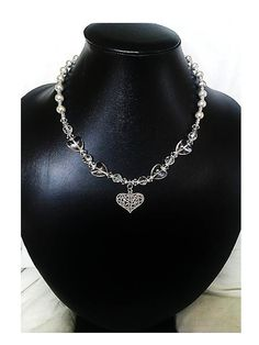 Crystal Heart and Grey Silver Bead, Heart Pendant Necklace (Upcycle Jewellery) -  British (UK) Jewellery Designer - £35.00