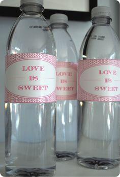 Valentine Fun - Love is Sweet Water Bottle Labels! Valentines Day Party, Happy Valentines Day, Valentine Ideas, Printable Water Bottle Labels, Printable Labels, Bottle Design, Love Is Sweet, Bridal Shower, Wedding Showers
