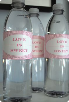 Valentine Water Bottle Labels. For Cute!