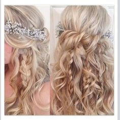 "Pinner said, ""Boho bridal hair with braids, twists and flowers Absolutely LOVE this. Cute Prom Hairstyles, My Hairstyle, Boho Hairstyles, Formal Hairstyles, Wedding Hairstyles, Hairstyle Ideas, Wedding Hair And Makeup, Hair Makeup, Boho Bridal Hair"