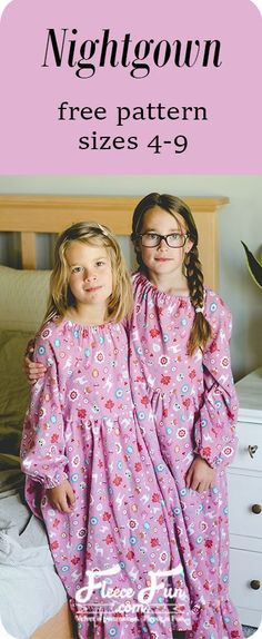 This Flannel Nightgown Sewing Pattern is free and is perfect for holiday pajamas. This sewing project is perfect for making cozy winter pajamas that are cute and feminine. Perfect flannel sewing project for Christmas. Sewing Patterns For Kids, Sewing Projects For Kids, Sewing For Kids, Free Sewing, Pattern Sewing, Fleece Patterns, Sewing Ideas, Nightgown Pattern, Pattern Dress
