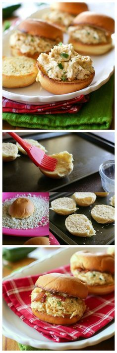 Jalapeno Popper Chicken Sliders - an appetizer or easy recipe for football. http://www.the-girl-who-ate-everything.com