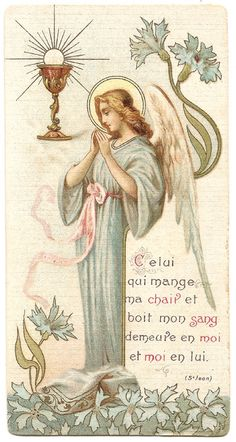 Art Nouveau Praying Angel with Communion Chalice by 12StarsVintage