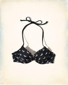 Lightly Lined Plunge Ruffle-Trim Swim Top
