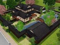 Mod The Sims – Himeya Inn – Another Japanese House – Country homes - architecture house Japanese Home Design, Japanese Style House, Traditional Japanese House, Japanese Interior, Japanese Mansion, Japanese Buildings, Japanese Architecture, Architecture Layout, Modern Architecture