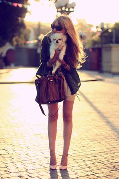 Cute bag, cute shoes, cute puppy.
