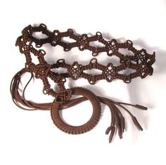 Macrame belt with tassel and ring brown braided lace by makrame, $30.00
