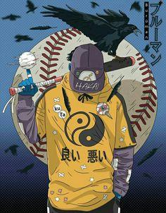 Image of Baseball player ⚾ (Burūman series) 🔵 Arte Cyberpunk, Arte Dope, Dope Art, Manga Art, Anime Art, Samurai Wallpaper, Sports Drawings, Graffiti Wallpaper, Japon Illustration