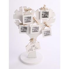 Image of Contemporary White Wooden Family Tree Photo Frame