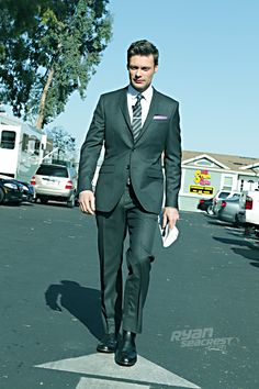 "Ryan Seacrest minutes before ""American Idol's"" April 4th episode. Suit by @Burberry, shoes by George Esquivel."