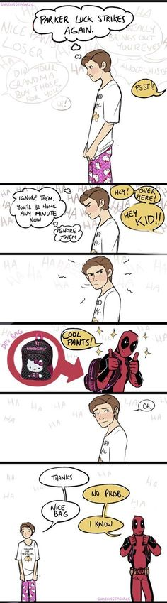 cute :) but I only ship Spideypool in universes where peter is a legal adult. In the MCU, he's still a kid (at least before Infinity War) so I don't ship this in the current MCU. Avengers Humor, Funny Marvel Memes, Marvel Jokes, Dc Memes, Marvel Dc Comics, Marvel Avengers, Funny Comics, Anime Comics, Marvel Heroes