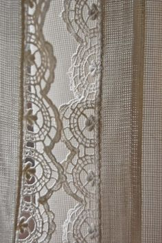 lace trim curtains Sheer with lace edging.   Crochet edging not lace