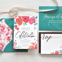 "Brides.com: . ""Cheerful"" watercolor wedding invitation suite, price available upon request, Julie Song Ink"